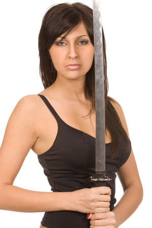 brunette woman with sword on a white background