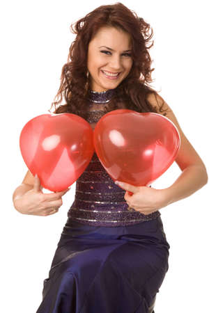 pretty woman with red balloon on white background photo