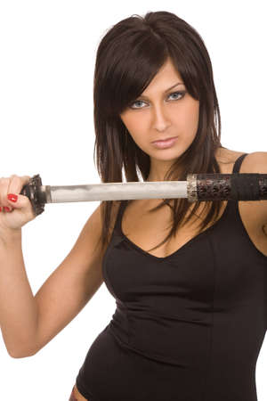 imminence: brunette woman with sword on a white background