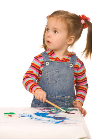 amazement: small girl paint on a white background