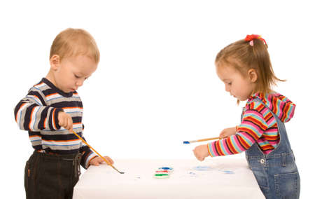 girl and boy paint on a white background photo