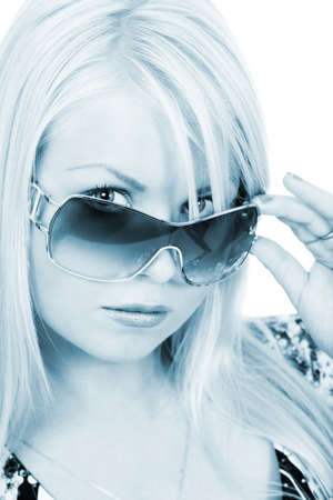 blond woman with sunglasses, black and white photo