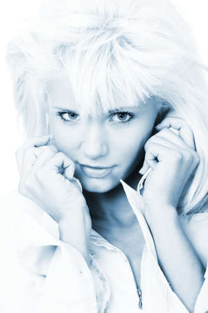 closeup portrait of the blond woman, black and white photo