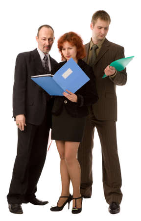 businessteam from three people on a white background photo