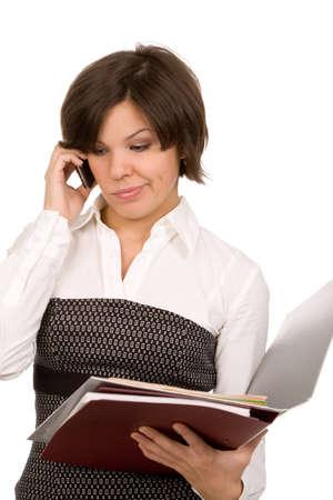 amazed businesswoman with folders on white background photo