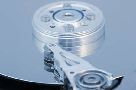 the details of hard disk drive macro photo