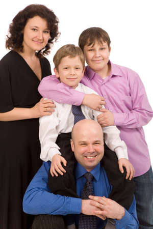 happy family of four people on a white background Stock Photo - 4405054