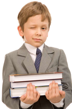 coat and tie: boy with books on a white background