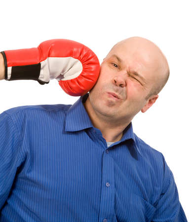 concurrence: woman with boxing gloves and man on a white background