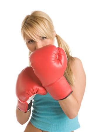 girl with red boxing gloves on a white background