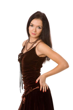 pretty woman in brown dress on white background Stock Photo - 4482523