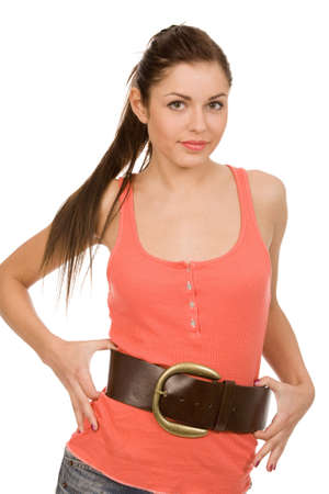 pretty woman with wide belt on a white background Stock Photo - 4577986