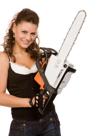 see saw: young woman with motor saw on a white background