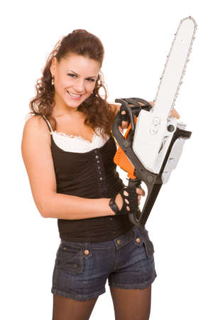 power saw: young woman with chainsaw on a white background Stock Photo