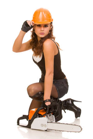 young woman with motor saw on a white background Stock Photo - 4724080