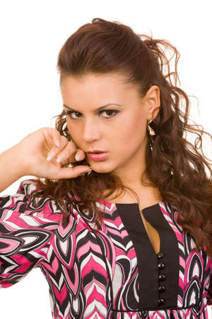 closeup portrait of the young beautiful woman photo
