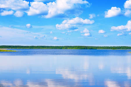 lake with cane, sky and clouds, summer landscape Stock Photo - 4877534