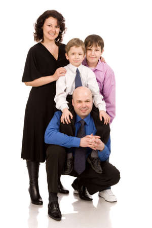 happy family of four people on a white background photo