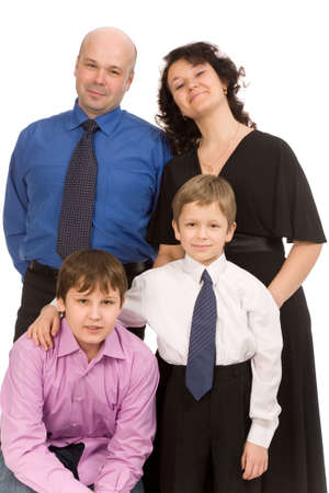 happy family of four people on a white background Stock Photo - 4881900