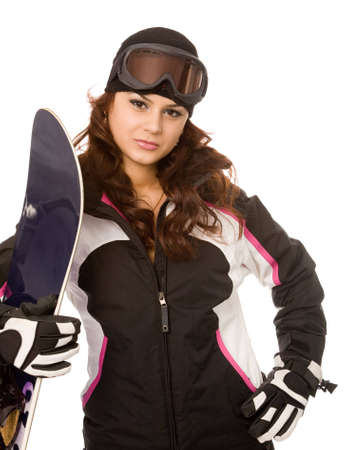 young woman with snowboard on a white background photo