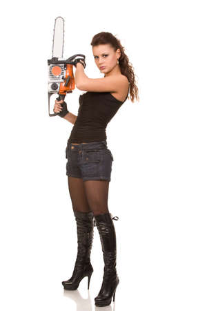 young woman with motor saw on a white background Stock Photo - 5079399