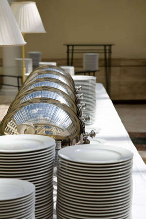a closeup of dishware for a restaurant Stock Photo