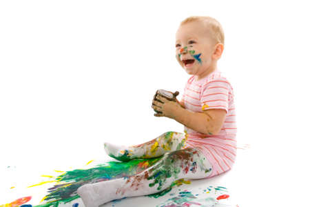 portrait of the little boy covered with bright paint Stock Photo - 5406417