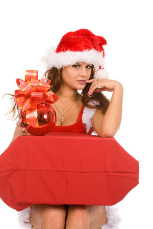 closeup holiday portrait of a young brunette woman in christmas costume on a white background Stock Photo - 5406485
