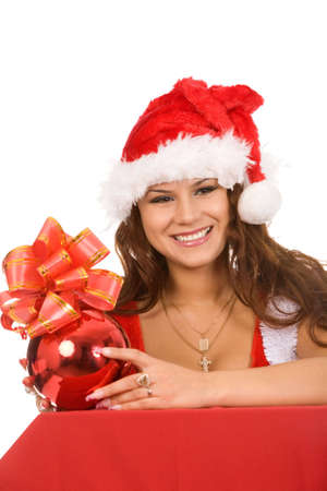 closeup holiday portrait of a young brunette woman in christmas costume on a white background Stock Photo - 5406442