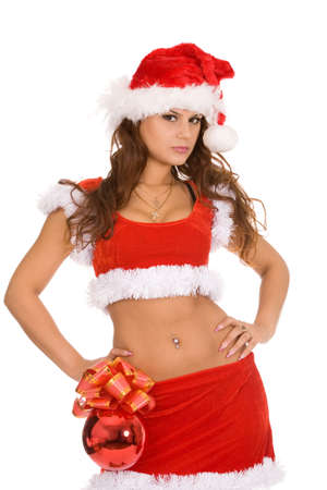 closeup holiday portrait of a young brunette woman in christmas costume on a white background photo