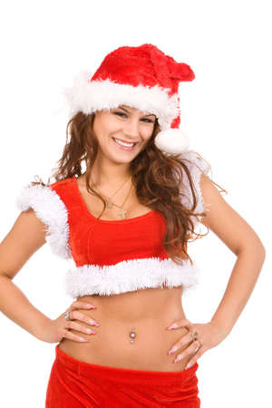 closeup holiday portrait of a young brunette woman in christmas costume on a white background Stock Photo - 5427052