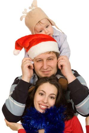 Retrato de Navidad primer plano de una familia feliz en un fondo blanco Foto de archivo - 5427061