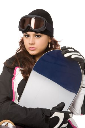pretty woman with snowboard isolated on white Stock Photo - 5513643
