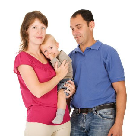 Happy family of three person on a white background Stock Photo - 5513622