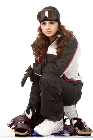 pretty woman with snowboard isolated on white photo