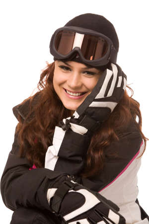 pretty woman in ski-wear isolated on white background photo