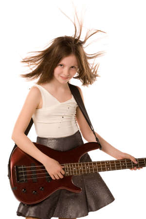 a closeup portrait of the girl playing the guitar isolated on a white background