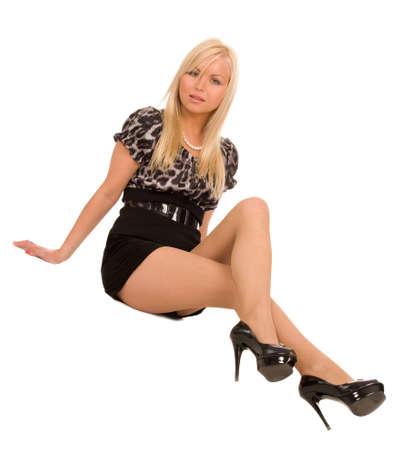 sexy stockings: pretty blond woman on a white background