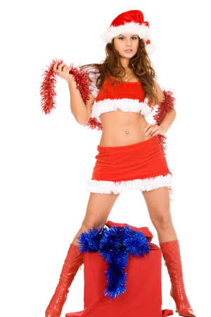 young brunette woman in christmas costume isolated on white photo