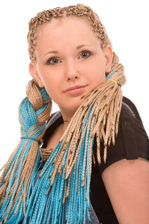 portrait of young blond woman with dreadlocks on white background photo