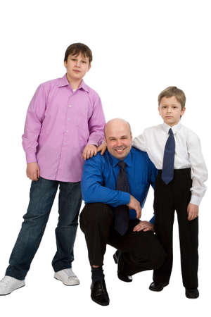isilated: portrait of the man with his sons isilated on white background