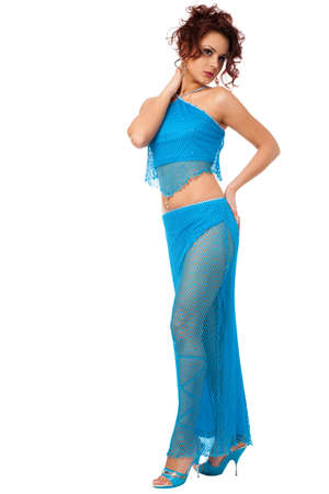 Portrait of the beautiful woman in belly dance costume photo