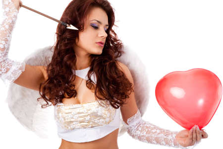 woman dressed as attractive female cupid on white background