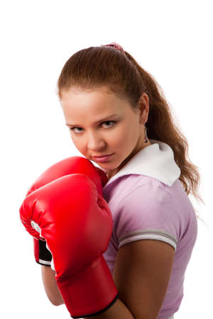 portrait of the young woman in boxing gloves on white background Stock Photo - 6388695