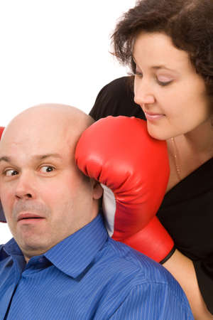 woman with boxing gloves and man on a white background Stock Photo - 6388610