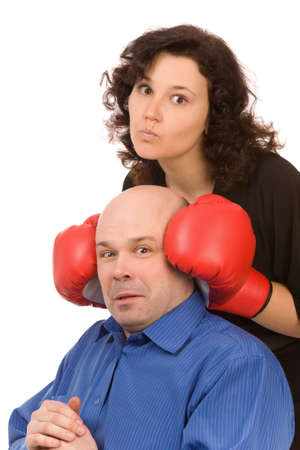 woman with boxing gloves and man on a white background Stock Photo - 6388686