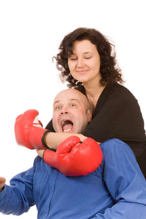 woman with boxing gloves and man on a white background Stock Photo - 6388669