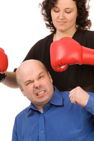 woman with boxing gloves and man on a white background Stock Photo - 6388685