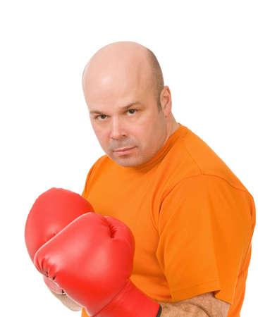 man with red boxing gloves on a white background Stock Photo - 6388694