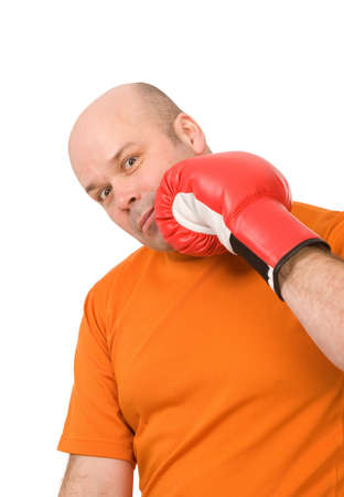 man with red boxing gloves on a white background Stock Photo - 6388725